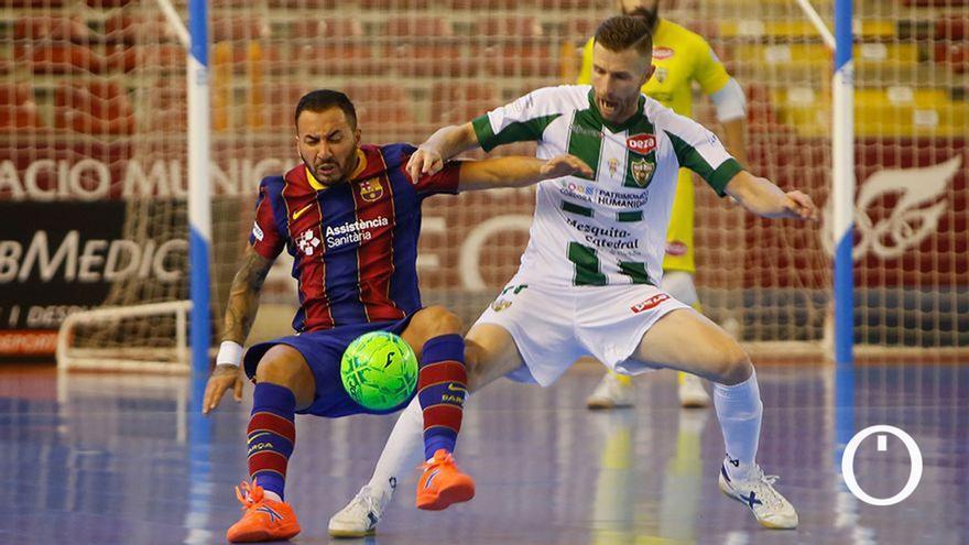 Lance del duelo de ida entre el Córdoba Patrimonio y el Barça