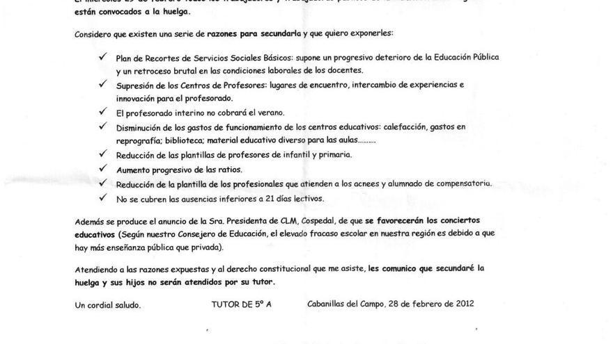 La carta que el profesor Ángel Renieblas entrego a sus alumnos.