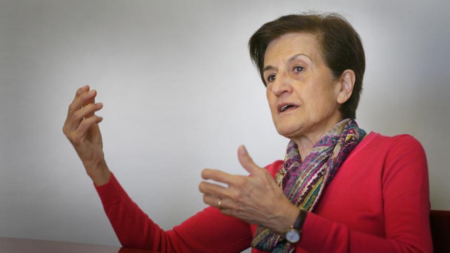 """Adela Cortina, filósofa y autora del libro """"Aporofobia, el rechazo al pobre"""", durante la entrevista."""