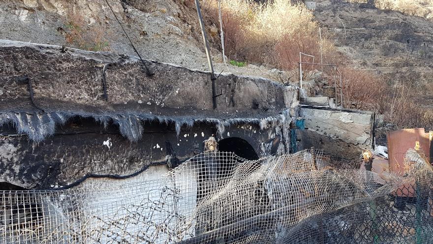 Vivienda afectada por el incendio de Gran Canaria.