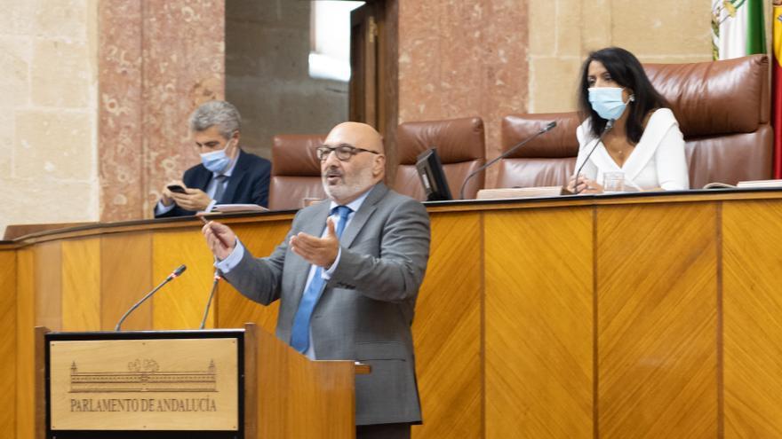 El portavoz parlamentario de Voz, Alejandro Hernández (c) interviene en el Pleno presidido por Marta Bosquet en una imagen de archivo