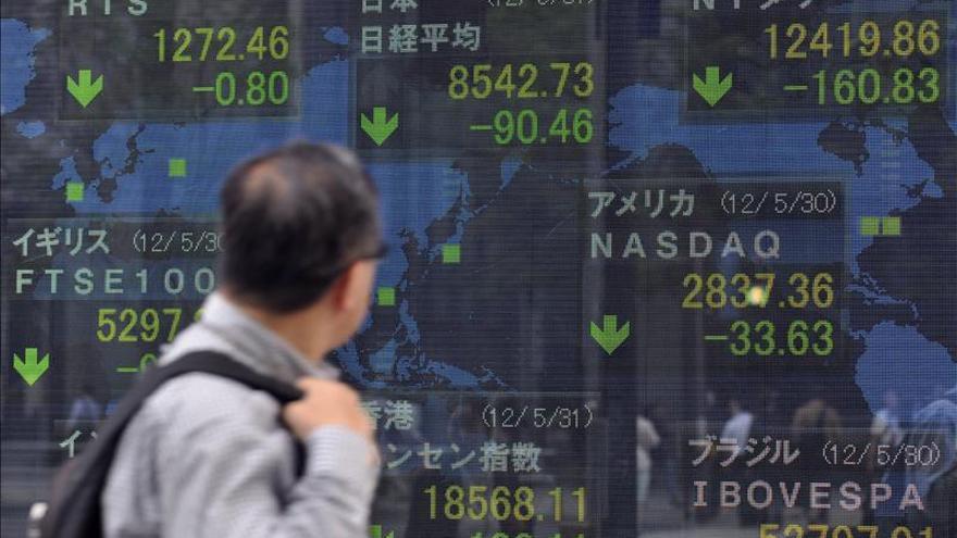 El índice Hang Seng baja el 0,68 por ciento, 156,90 puntos, a media sesión