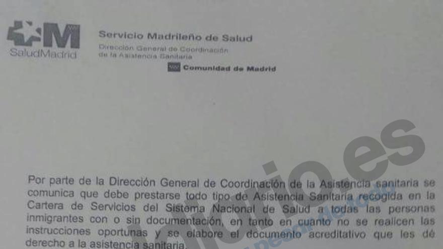 Instrucción interna enviada por la Consejería de Sanidad de la Comunidad de Madrid a los cnetros sanitarios de la región.