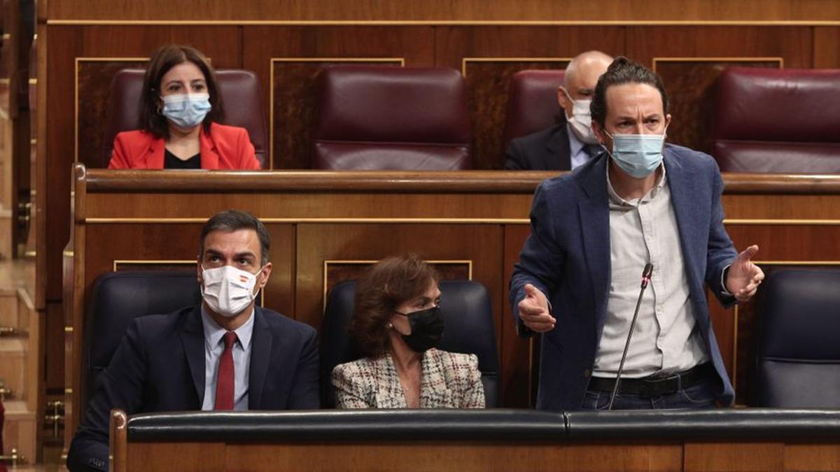 El vicepresidente segundo del Gobierno, Pablo Iglesias, interviene durante una sesión de control al Gobierno en el Congreso.