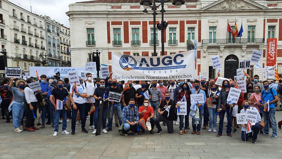 Concentración de guardias civiles este sábado en Madrid.