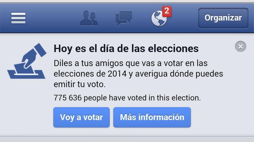 Aplicación de Facebook con la que podemos decir a nuestros contactos que hemos votado en las Elecciones Europeas