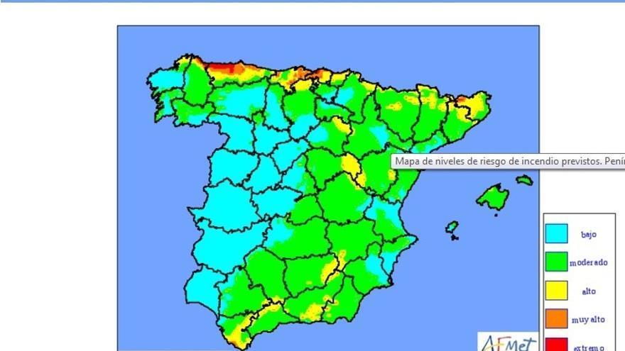 El riesgo de fuego será mañana alto o muy alto en Cantabria