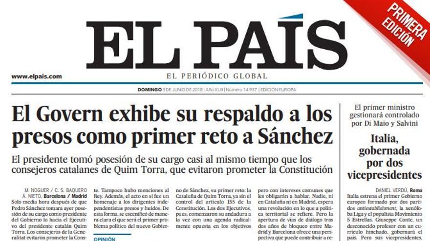 Portada El País 3 de junio
