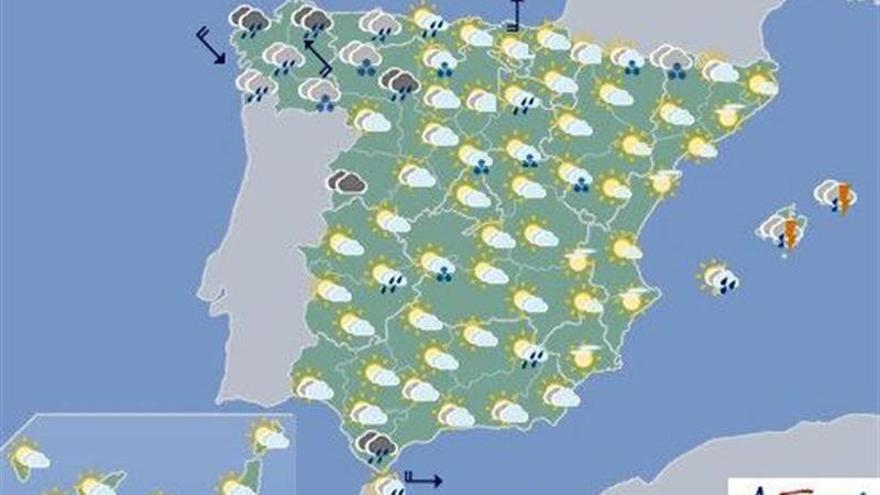 Hoy, lluvias fuertes en Galicia y sur de Andalucía, y nevadas en noroeste
