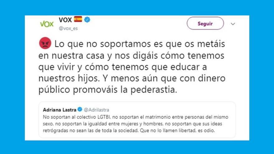 """Comentario de Vox que Twitter considera """"ofensivo"""" contra el colectivo LGTBI y que ha llevado al bloqueo de la cuenta del partido de extrema derecha."""