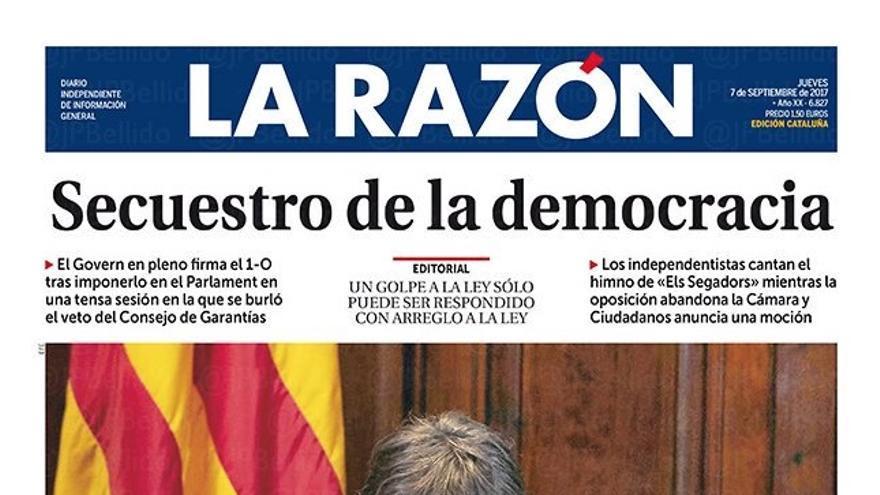 Portada de La Razón de este 7 de septiembre.
