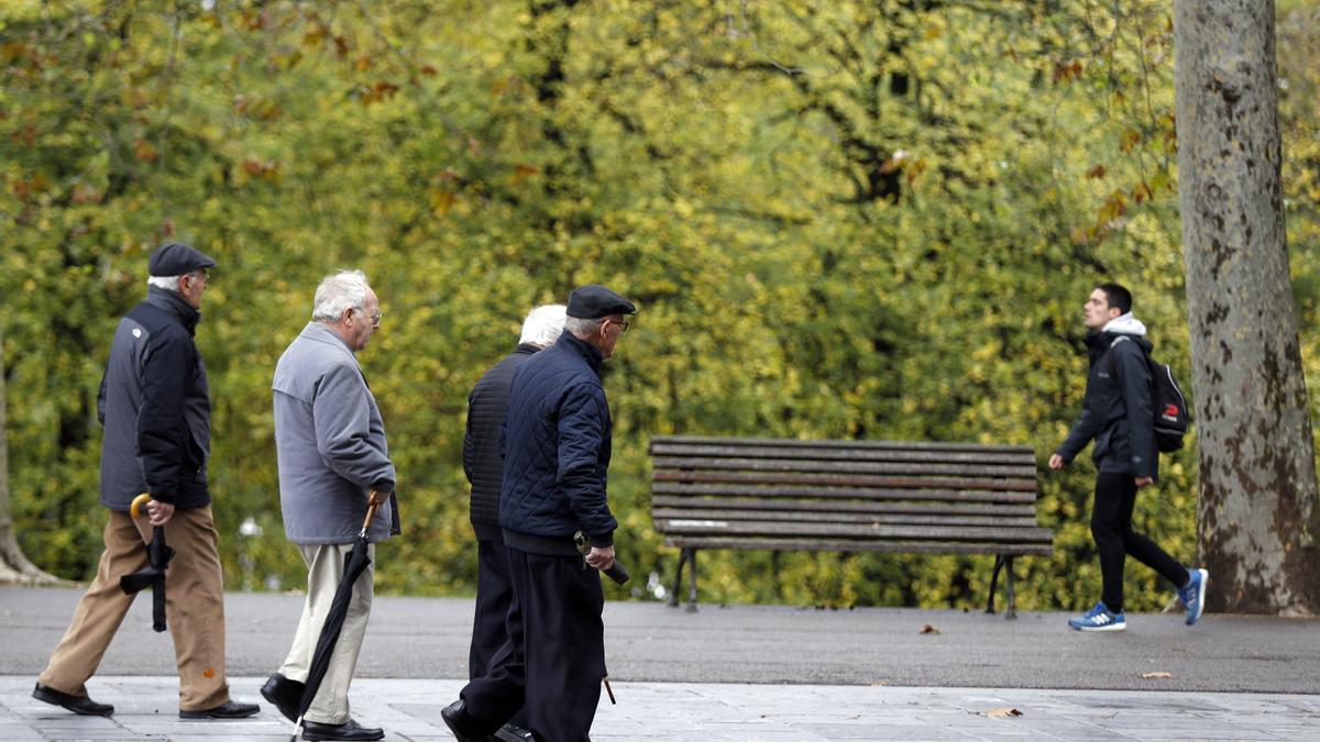 Pensionistas y jubilados pasean en un parque