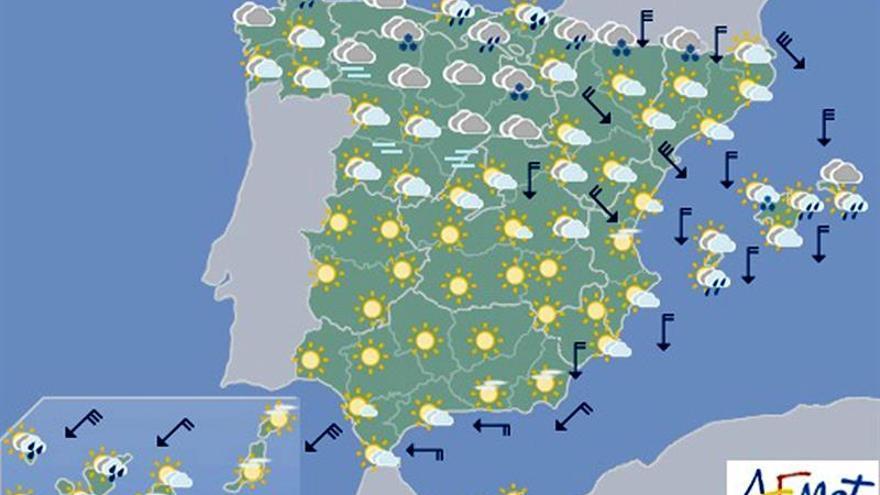Hoy, lluvias en La Palma, extremo oriental cantábrico y Baleares