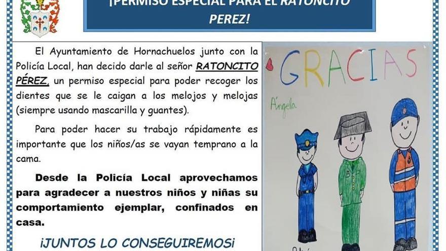 Comunicado del Ayuntamiento de Hornachuelos sobre el permiso especial del Ratoncito Pérez.