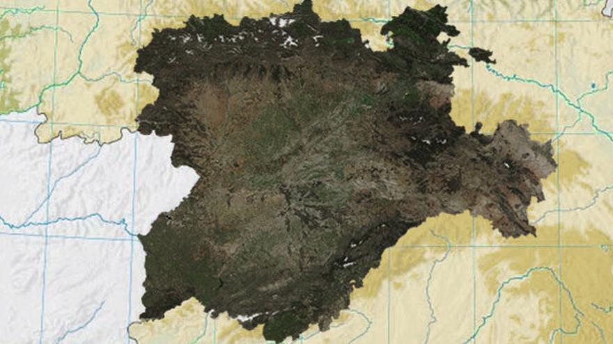 Mapa satelital de Castilla y León en la península Ibérica.