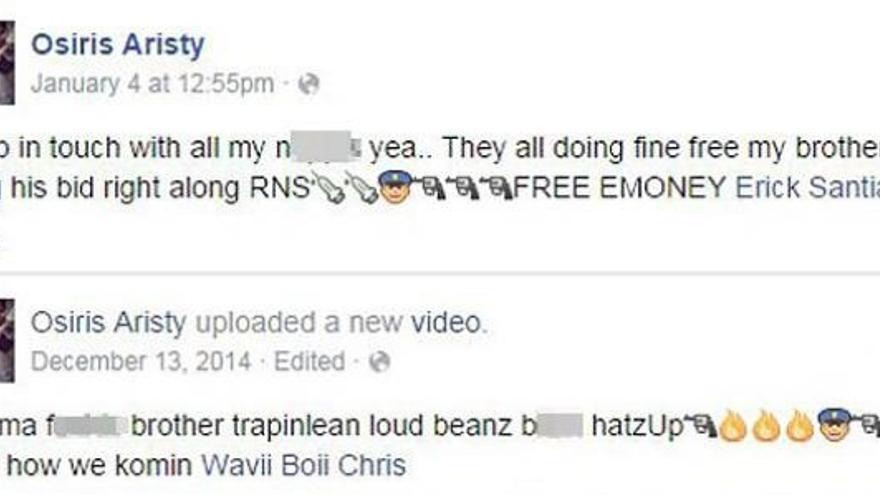 Captura de pantalla con los mensajes de Osiris Aristy en Facebook considerados como amenazas a la policía