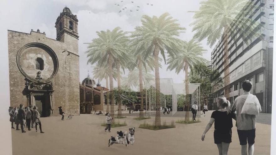 Imagen virtual del proyecto de reurbanización de la plaza Ciudad de Brujas 'Confluència'