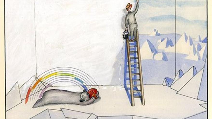 Viñeta de Paco Catalán dedicada al oso polar Arturo