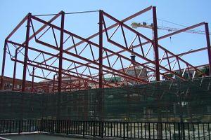 La construcción del mercado provisional avanza con rapidez   Foto: A.P