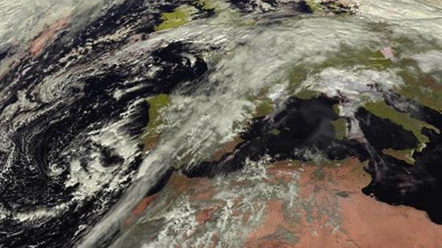 Imagen del Meteosat que capta la borrasca que ha afectado al archipiélago