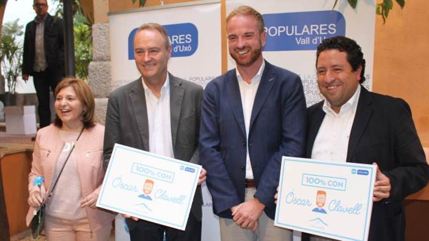 Isabel Bonig, Alberto Fabra, Óscar Clavell y Javier Moliner, presidente del PP en Castellón.
