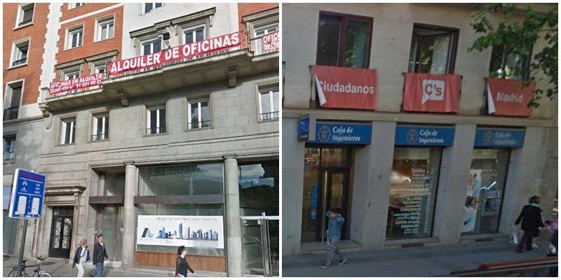 Nueva sede de Ciudadanos en Recoletos (izda.) y el edificio que hasta ahora ocupaba en Carranza (dcha.) | GOOGLE MAPS