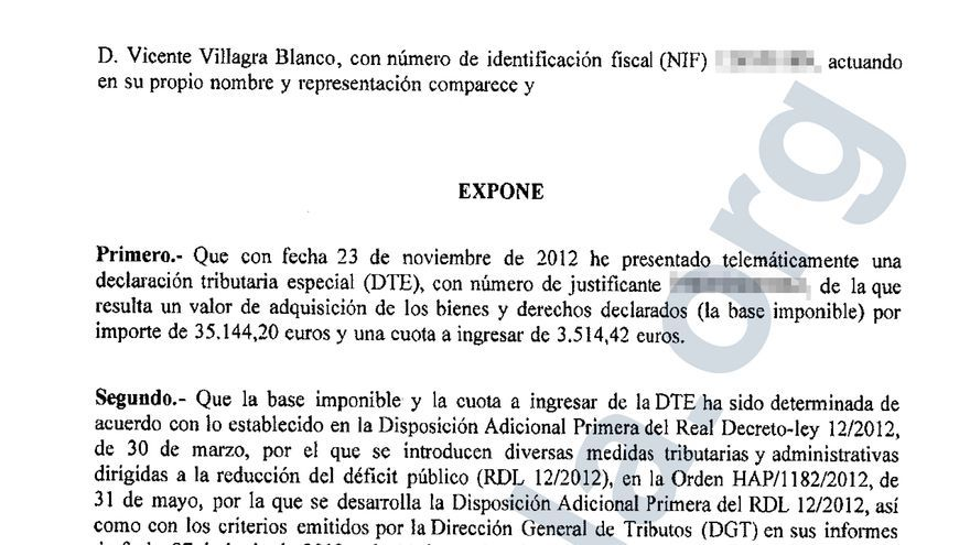 Documento explicativo de la regularización de Vicente Villagra, presidente de Pipas Facundo