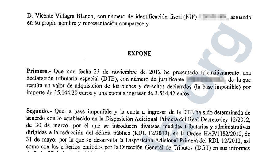 Documento explicativo de la regularización de Vicente Villagra, presidente de Pipas Facundo