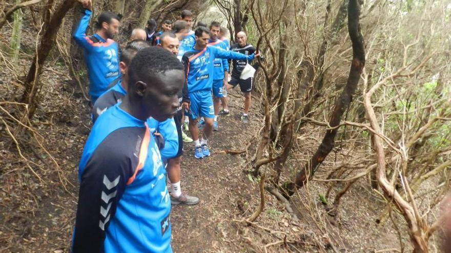 El equipo del CD Tenerife recorrió este sábado un sendero de Anaga / Foto @CDTenerife