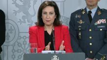 La ministra de Defensa, Margarita Robles, durante la rueda de prensa conjunta en Moncloa.