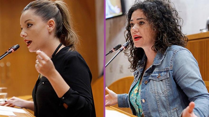 Maru Díaz (izqda) y Erika Sanz (dcha) encabezan cada una de las dos candidaturas en las primarias de Podemos Aragón