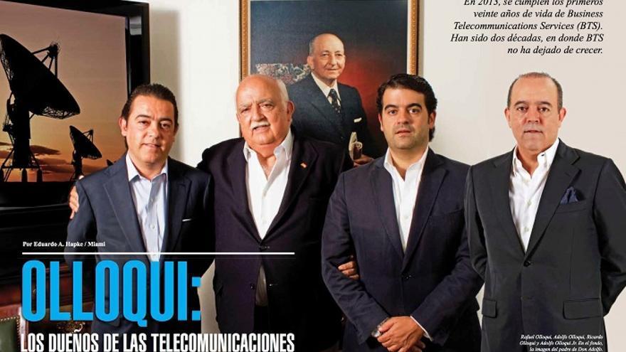 La revista Negocios, dedicada a la comunidad empresarial latina en EEUU, publicó un reportaje sobre la empresa de los Olloqui en 2013. De izquierda a derecha, Rafael Olloqui, su padre Adolfo, Ricardo y Adolfo Jr.