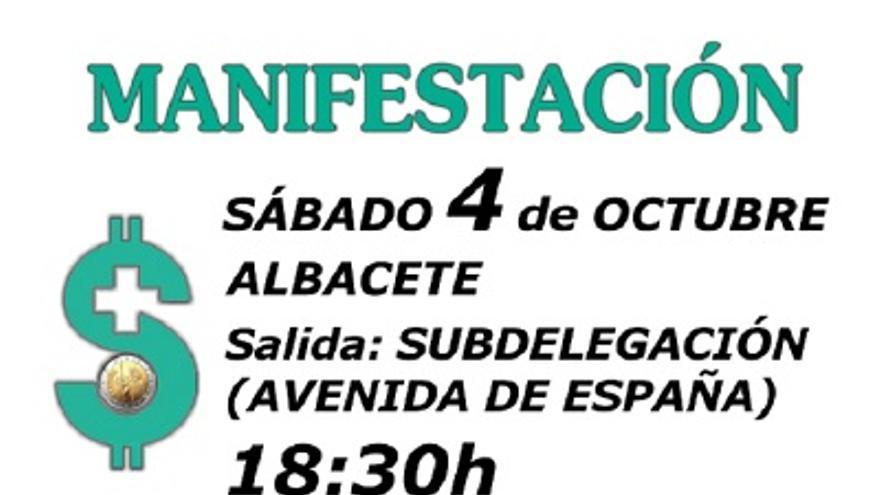 Cartel manifestación por la sanidad en Albacete, 4/10/14