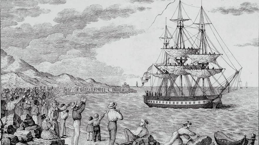 Corbeta María Pita zarpando de uno de los puertos del Caribe (1803-1804). / Grabado de Francisco Pérez (BNE)