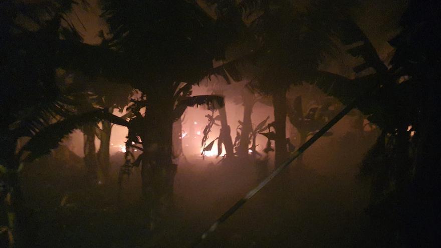 Incendio en una finca de plataneras del Valle de Aridane la  pasada moche del sábado al domingo.