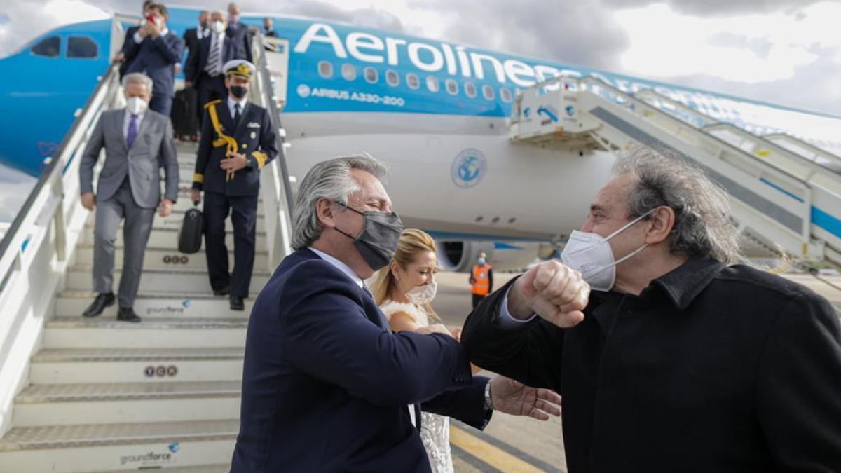 Llegada de Alberto Fernández a Madrid.