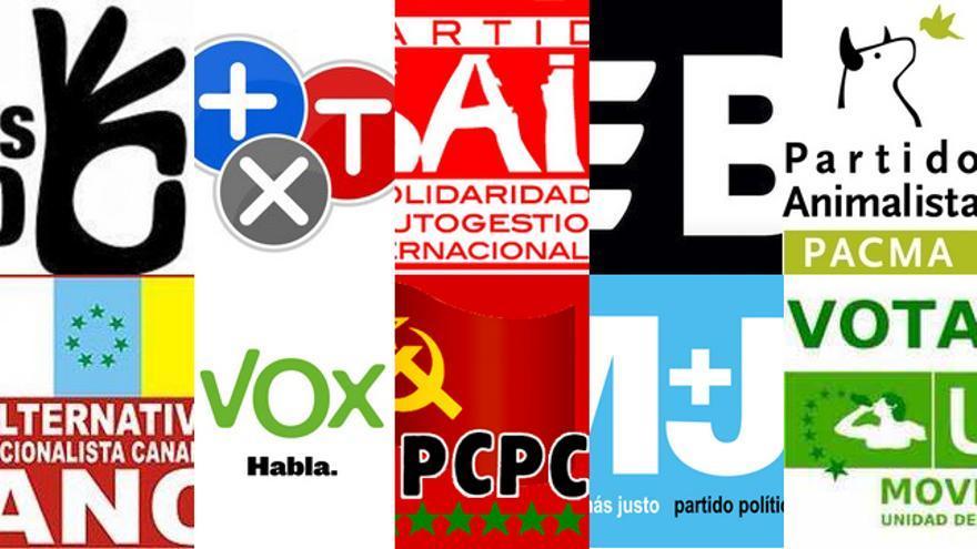 Logos de los partidos minoritarios que se presentan a las elecciones autonómicas de Canarias (CANARIAS AHORA)