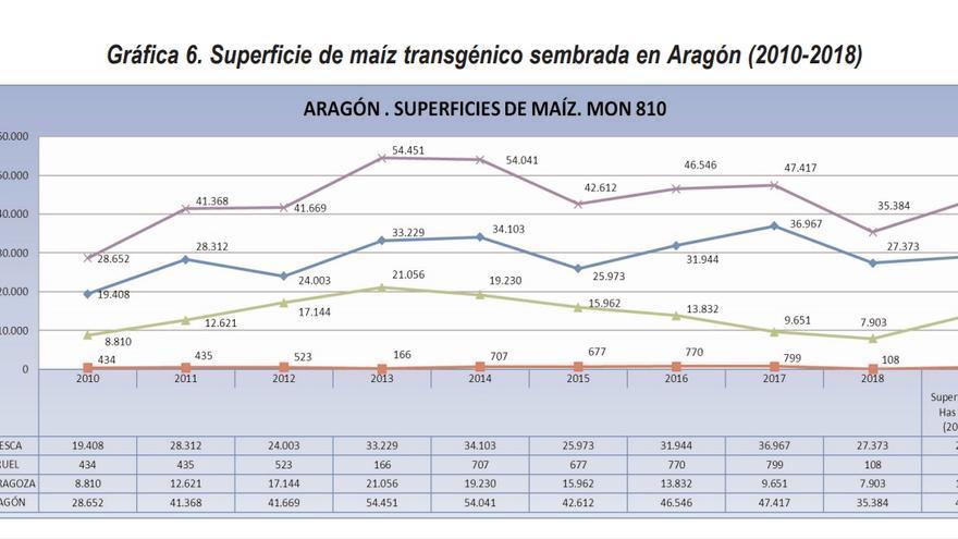 Gráfico de la evolución del maiz transgénico sembrado en Aragón 2010-2018.
