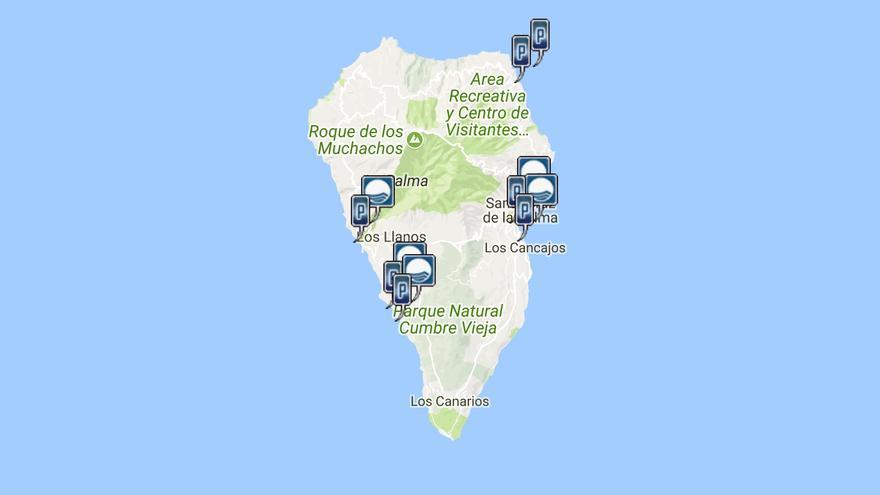 Mapa de playas de La Palma.