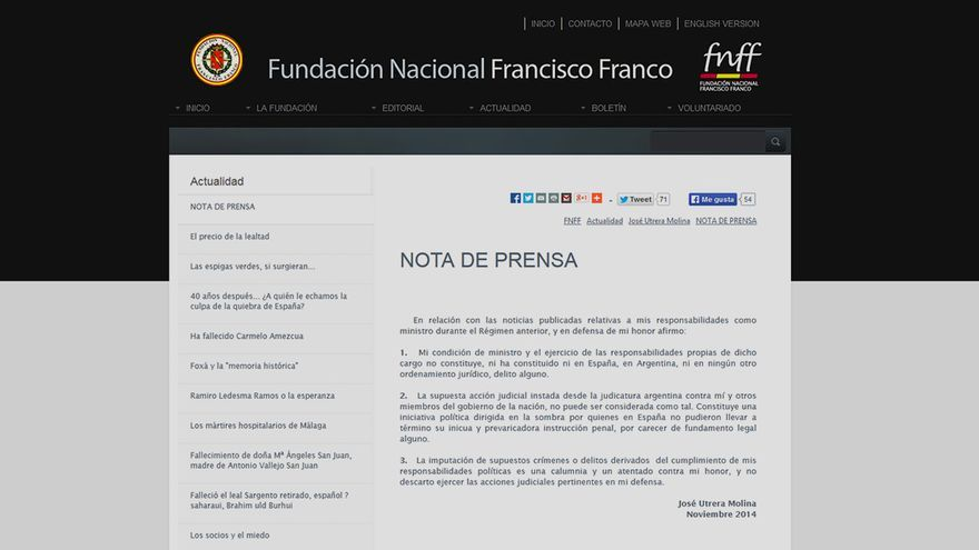Nota de prensa de Utrera Molina en la web de la Fundación Francisco Franco.