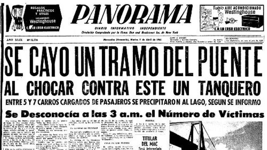 Portada del periódico Panorama narrando el derrumbe del puente de Maracaibo