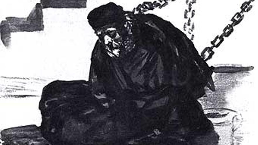 Diego Mateo Zapata encarcelado por la Inquisición (Detalle de un dibujo de Goya)