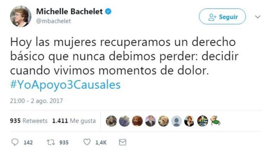 Tweet de Michelle Bachelet sobre la nueva ley chilena sobre el aborto.