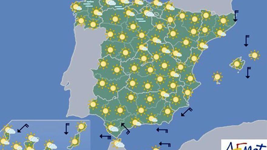 Las temperaturas volverán hoy a ser muy altas en el sur y en Canarias