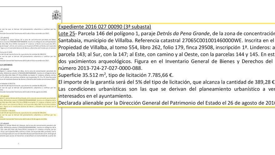 Hacienda vende por euros uno de los yacimientos del for Registro de la propiedad lugo