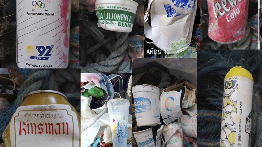 El mosaico fotográfico muestra algunas de las latas y envases recogidos por Cultura Sostenible durante las últimas jornadas de limpieza.