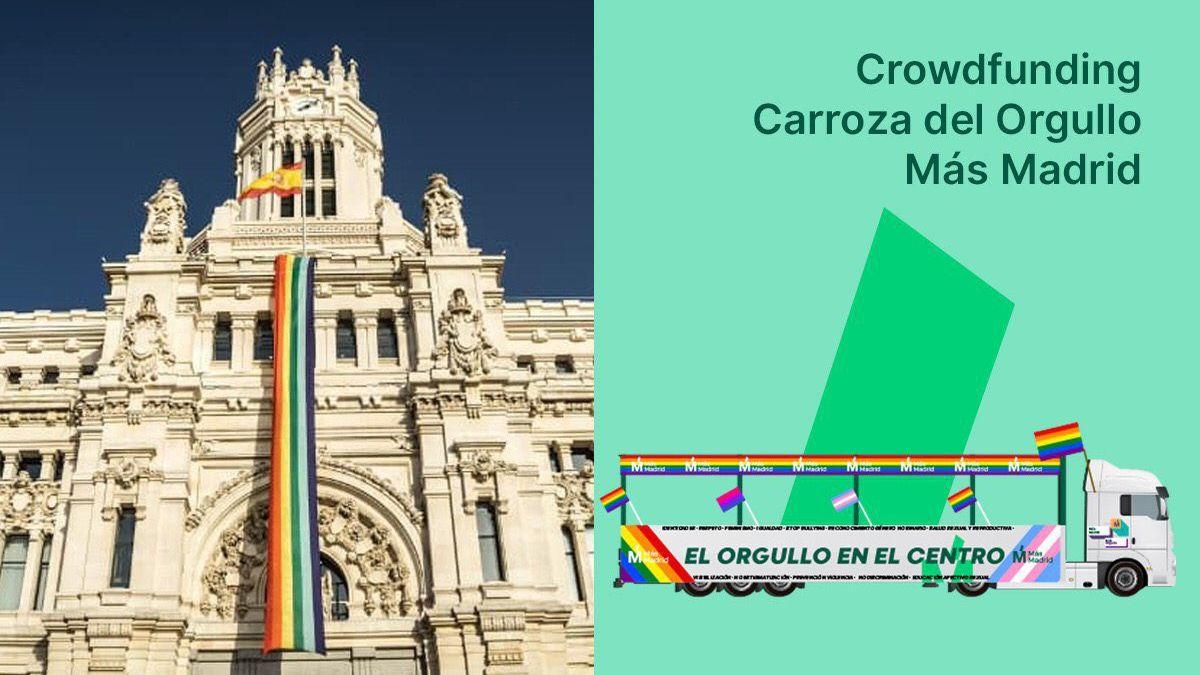 Cartel promocional del crowdfundingde Más Madrid para la carroza del Orgullo 2019 | MÁS MADRID