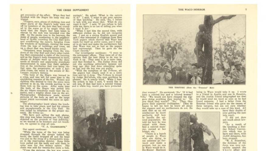 Cuatro de las páginas del reportaje de The Crisis sobre el linchamiento de Washington.