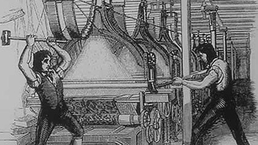 Representación de obreros destrozando máquinas en el siglo XIX