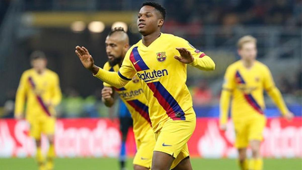 Jugadores el FC Barcelona en un partido en la Champions.